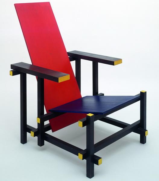 Mondrian de stijl - La chaise rouge et bleue ...